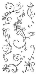 Sketchy Flourishes Clear Unmounted Rubber Stamp Set INKADINKADO 97632 New