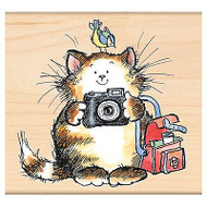 Snap Shot Cat With Camera, Wood Mounted Rubber Stamp PENNY BLACK - NEW, 4319J