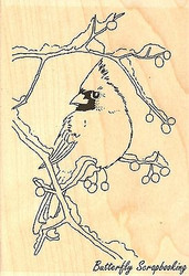 Snow Branch Cardinal, Wood Mounted Rubber Stamp IMPRESSION OBSESSION -NEW, F7765