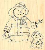 Snowman Fire Fighters  Wood Mounted Rubber Stamp IMPRESSION OBSESSION E8310 New