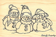Snowman Friends, Wood Mounted Rubber Stamp STAMPENDOUS, NEW - P235