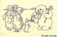 Snowman Gives Pet Treats, Wood Mounted Rubber Stamp STAMPENDOUS, NEW - P232