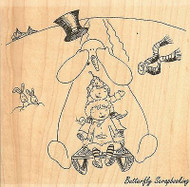 Snowman Sledding, Wood Mounted Rubber Stamp IMPRESSION OBSESSION - NEW, H11011