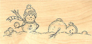 Snowman Snowball Fight Wood Mounted Rubber Stamp IMPRESSION OBSESSION F8155 New