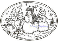 Snowman With Birds Winter Wood Mounted Rubber Stamp Northwoods Rubber Stamp New