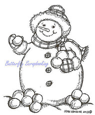 Snowman With Snowballs, Wood Mounted Rubber Stamp NORTHWOODS - NEW, F9318