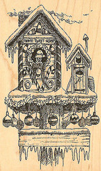 Snowy Christmas Birdhouse Wood Mounted Rubber Stamp Impression Obsession NEW