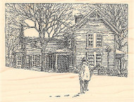 Snowy Coming Home, Wood Mounted Rubber Stamp IMPRESSION OBSESSION - NEW, H1915