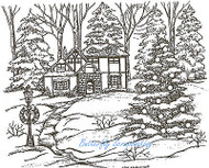 Snowy House In Woods, Wood Mounted Rubber Stamp NORTHWOODS - NEW, P7137