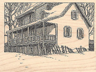 Snowy House Wood Mounted Rubber Stamp IMPRESSION OBSESSION Snow Winter New