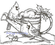 Snowy Watering Can Cardinals Wood Mounted Rubber Stamp NORTHWOODS M7674 New