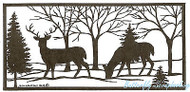 Solid Deer In Rectangle Wood Mounted Rubber Stamp Northwoods Rubber Stamp New