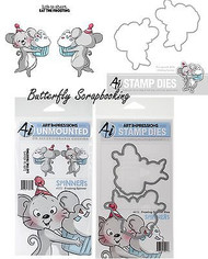 SPINNERS FROSTING Dies & Cling Unmounted Rubber Stamp SET Art Impressions NEW