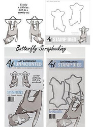SPINNERS SCAREDY CAT Dies & Cling Unmounted Rubber Stamp SET Art Impressions NEW
