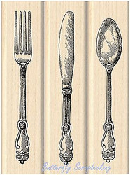 SPOON FORK KNIFE Utensil Wood Mounted Rubber Stamp Set Iinkadinkado 60-01061 NEW