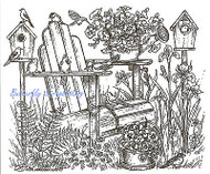 Spring Garden Chair Scene Wood Mounted Rubber Stamp Northwoods Rubber Stamp New