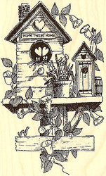 Spring Time Birdhouse Wood Mounted Rubber Stamp Impression Obsession NEW