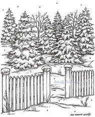 Spruce With Picket Fence Wood Mounted Rubber Stamp Northwoods Rubber Stamp New