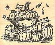 Squirrel & Autumn Wheelbarrow, Wood Mounted Rubber Stamp NORTHWOODS - NEW, P7590