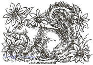 Squirrel And Spring Flowers, Wood Mounted Rubber Stamp NORTHWOODS - NEW, E5076