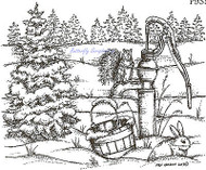 Squirrel On Water Pump Wood Mounted Rubber Stamp Northwoods Rubber Stamp New
