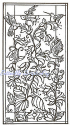 Stained Glass Hummingbird Flowers Wood Mounted Rubber Stamp NORTHWOODS - O4595