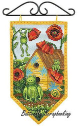 SUMMER Frog Mini Banner Debbie Mumm Dimensions Cross Stitch Kit 72-74134 NEW