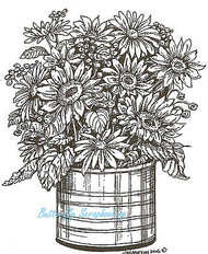 Sunflower Planter, Wood Mounted Rubber Stamp NORTHWOODS - NEW, P4742