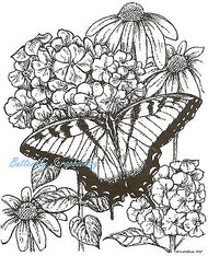 Swallowtail Butterfly On Hydrangeas, Wood Mounted Rubber Stamp NORTHWOODS- P6916