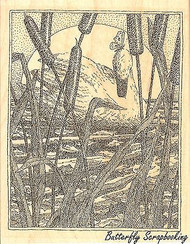 SWAN In Cattails Wood Mounted Rubber Stamp IMPRESSION OBSESSION H1969 New