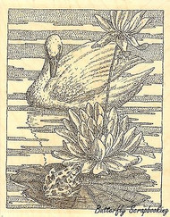Swan With Lilypad, Wood Mounted Rubber Stamp IMPRESSION OBSESSION - NEW, H1977