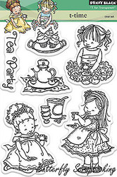 Tea Time Girls Stamp Set Clear Unmounted Rubber Stamp Set PENNY BLACK 30-178 New