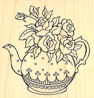 TEAPOT Posies Flowers Wood Mounted Rubber Stamp STAMPENDOUS Stamp W140 New