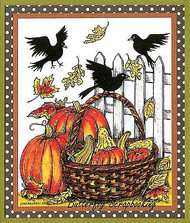 THANKSGIVING Crows Fence Pumpkins Wood Mounted Rubber Stamp NORTHWOODS P9838 New
