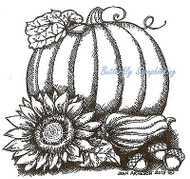 THANKSGIVING Pumpkin Sunflower Wood Mounted Rubber Stamp NORTHWOODS MM9835 New