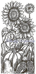 THANKSGIVING Pumpkins Sunflowers Wood Mounted Rubber Stamp NORTHWOODS O9839 New