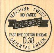 Thread Spool Label, Wood Mounted Rubber Stamp IMPRESSION OBSESSION - NEW, B13093