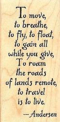 To Travel Text, Wood Mounted Rubber Stamp IMPRESSION OBSESSION - NEW, C14403