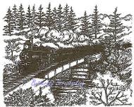 Train Trestle Bridge Scene Wood Mounted Rubber Stamp Northwoods Stamp P9552 New