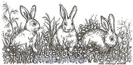 Trio Of Bunnies In Flowers, Wood Mounted Rubber Stamp NORTHWOODS - NEW, O9706