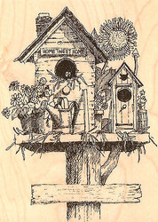 Tweet Summertime Birdhouse Wood Mounted Rubber Stamp Impression Obsession NEW