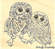 Two Owls, Wood Mounted Rubber Stamp IMPRESSION OBSESSION - NEW, E7760