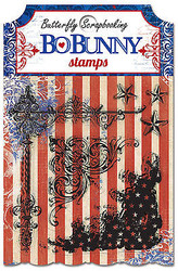 USA Star Anthem Stamps Clear Unmounted Rubber Stamps Set BoBunny 14405858 New