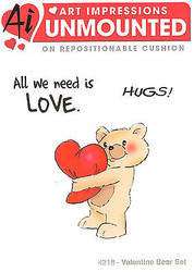Valentine Bear Hugs Unmounted Rubber Stamps with Cushion AI Art Impressions NEW