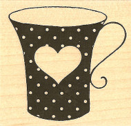 Valentine Dot Heart Teacup Wood Mounted Rubber Stamp Impression Obsession NEW