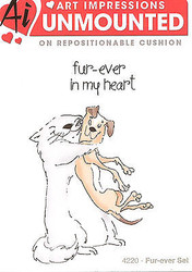 Valentine Fur Hugs Unmounted Rubber Stamps with Cushion AI Art Impressions NEW