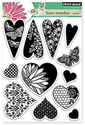 Valentine Heart Swatches Clear Unmounted Rubber Stamp Set PENNY BLACK 30-204 New