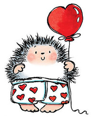 Valentines Day Hedgehog Hot Pant Wood Mounted Rubber Stamp PENNY BLACK 4031H New