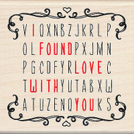 Valentines Word Search Love You Wood Mounted Rubber Stamp by Inkadinkado NEW
