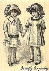 Victorian Girls Wood Mounted Rubber Stamp Impression Obsession Stamp E8884 NEW